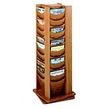 48-Pocket Rotary Literature Display Rack, Medium Oak