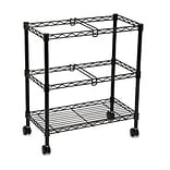 Two-Tier Rolling File Cart, Black