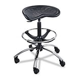 "Sit-Star Stool with Footring & Caster, 27""-36h Seat, Black/Chrome"