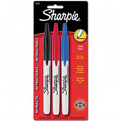 Sharpie® Retractable Permanent Markers; Fine Point, Assorted Colors, 3-Color Set