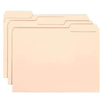 Interior File Folders, 1/3 Cut, Top Tab, Letter, Manila, 100/Box