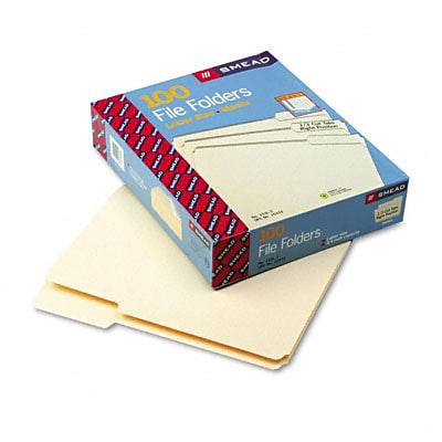 File Folders, 1/3 Cut 3rd Position,1-Ply Top Tab, Letter, Manila, 100/Box