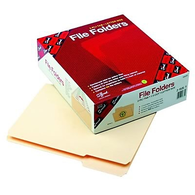 Recycled File Folder, 1/3 Cut 1st Position, Reinforced Top Tab, Ltr, MLA, 100/Bx