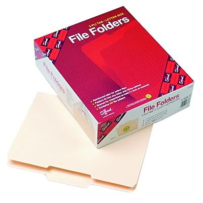 Recycled File Folder, 1/3 Cut 2nd Position, Reinforced Top Tab, Ltr, MLA, 100/Bx