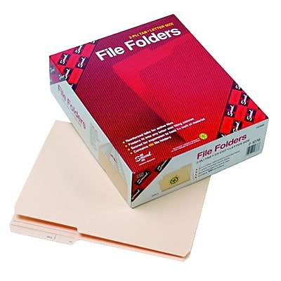 Guide Height File Folders, 2/5 Cut Right, 2-Ply Top Tab, Letter, Manila, 100/Box
