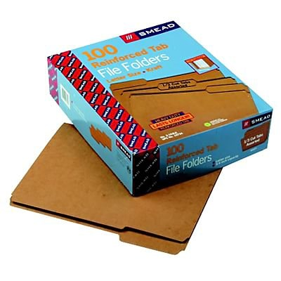 Kraft File Folders, 1/3 Cut, Reinforced Top Tab, Letter, Brown, 100/Box