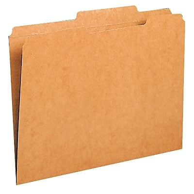Kraft File Folders, 2/5 Cut Right of Center, 2-Ply Top Tab, Letter, BN, 100/Box