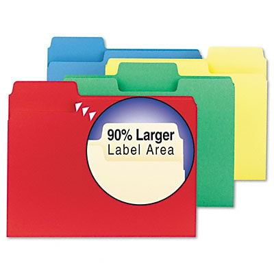 Smead® SuperTab® Assorted Color File Folders; Letter Size