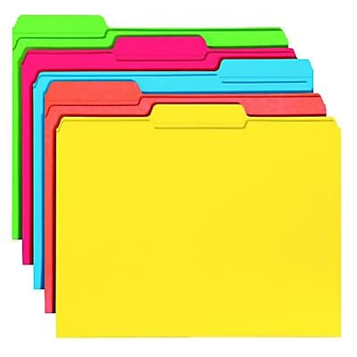 File Folders, 1/3 Cut, Reinforced Top Tab, 11 Point, Letter, Assorted, 100/Box
