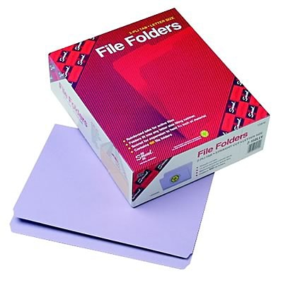 File Folders, Straight Cut, Reinforced Top Tab, 11 Point, Ltr, Lavender, 100/Box