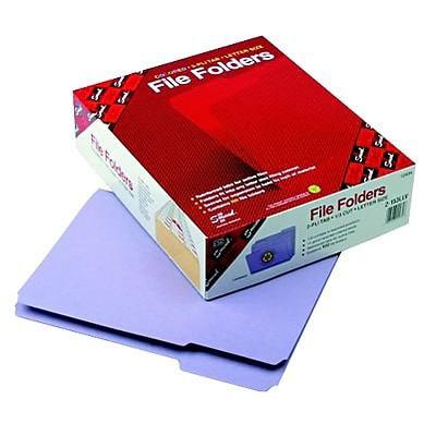 File Folders, 1/3 Cut, Reinforced Top Tab, Letter, 11 Point, Lavender, 100/Box