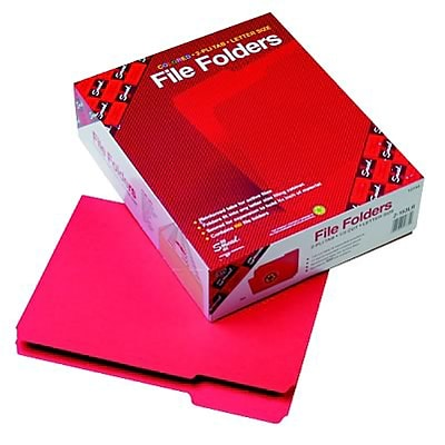 File Folders, 1/3 Cut, Reinforced Top Tab, 11 Point, Letter, Red, 100/Box