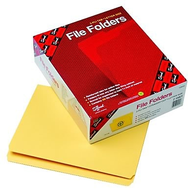File Folders, Straight Cut, Reinforced Top Tab, 11 Point, Ltr, Yellow, 100/Box