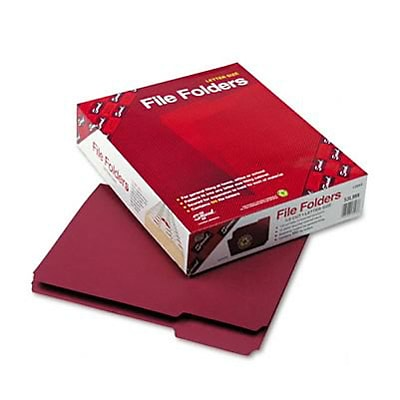 Smead® Colored File Folders; Letter, Maroon