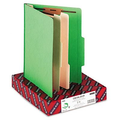 Smead® Top Tab Classification Folders; 2 Dividers, Green