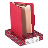 Smead® Top Tab Classification Folders; Letter Size, 2 Dividers, Red, 10/Box