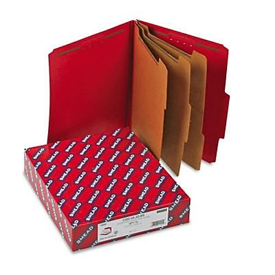 3 Expansion Folders w/2/5 Cut Tab, Letter, 8-Section, Bright Red, 10/box
