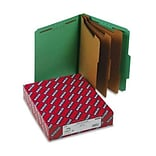 3 Expansion Classification Folder, 2/5 Cut, Ltr, 8-Section, Green, 10/bx