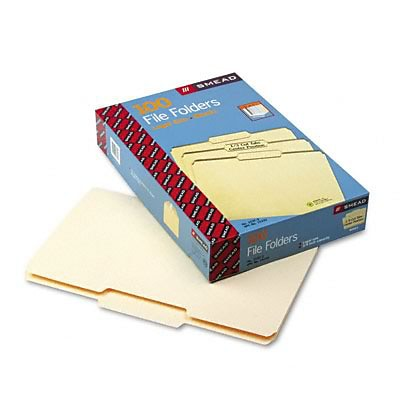 File Folders, 1/3 Cut 2nd Position, 1-Ply Top Tab, Legal, Manila, 100/Box