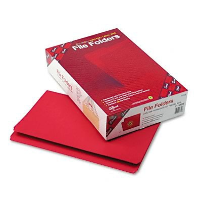Smead® Reinforced Tab Colored Folders; Legal, Red, 100/Bx