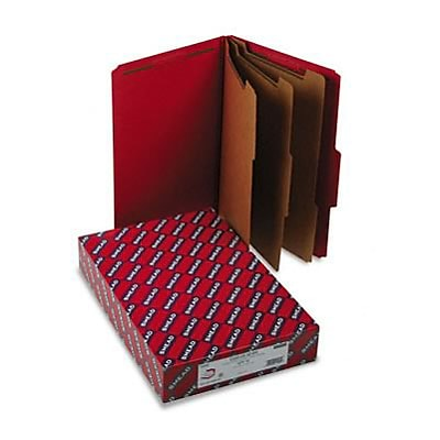 3 Expansion Folders with 2/5 Cut Tab, Lgl, 8-Section, Bright Red, 10/box