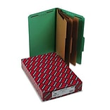 3 Expansion Classification Folder, 2/5 Cut, Lgl, 8-Section, Green, 10/bx