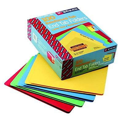 Colored File Folders, Straight Cut, Reinforced End Tab, Letter, Assorted, 100/Bx
