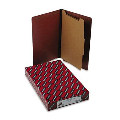 Pressboard End Tab Classification Folders, Legal, 4-Section, Red, 10/box