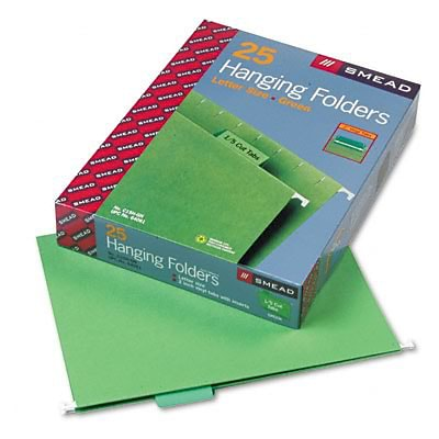 Hanging File Folders, 1/5 Tab, 11 Point Stock, Letter, Bright Green, 25 per Box
