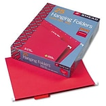 Hanging File Folders, 1/5 Tab, 11 Point Stock, Letter, Red, 25 per Box