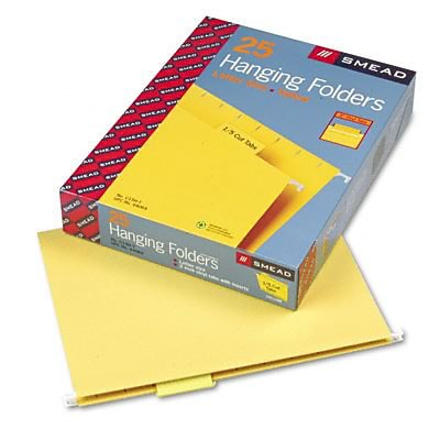 Hanging File Folders, 1/5 Tab, 11 Point Stock, Letter, Yellow, 25 per Box