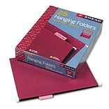 Hanging File Folders, 1/5 Tab, 11 Point Stock, Letter, Maroon, 25 per Box
