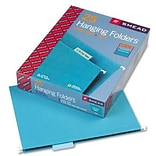 Hanging File Folders, 1/5 Tab, 11 Point Stock, Letter, Teal, 25 per Box
