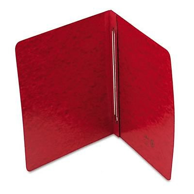 Pressboard Side Opening Cover, Prong Clip, Letter, 3 Capacity, Red