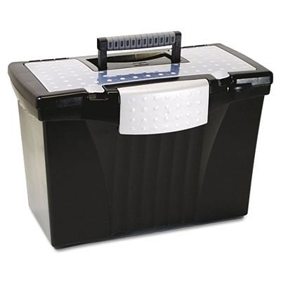 Storex Portable File Storage Box with Organizer Lid; Letter/Legal, Black