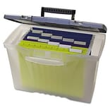 Storex Portable File Storage Box with Organizer Lid; Letter/Legal, Clear