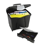 Storex Portable File Storage Box with Drawer; Letter, Black