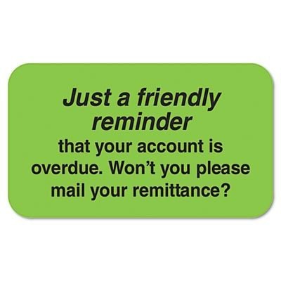 Tabbies® Medical Labels; Friendly Reminder, Fluorescent Green, 1-1/2x7/8, 250 Labels