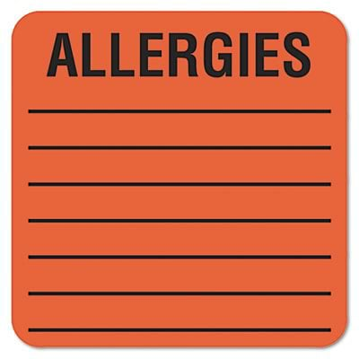 Tabbies® Medical Labels; Allergic To Remind R, Fluorescent Red, 2x2, 500 Labels