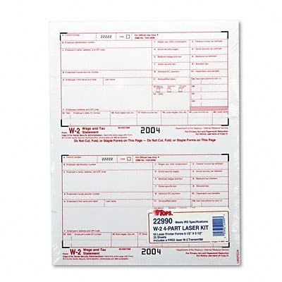 W-2 Tax Forms for Laser Printers, 4-Part Carbonless, 50 Loose Form Sets/Pack