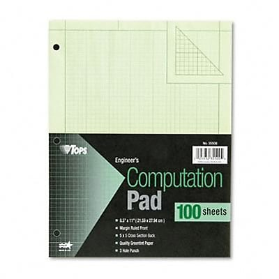 Engineering Computation Pad, Quad Rule, Letter, Green Tint, 100 Sheets/Pad