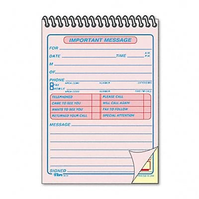 Message Forms, 4-1/4 x 6, Carbonless Duplicate, 50 Sets/Book