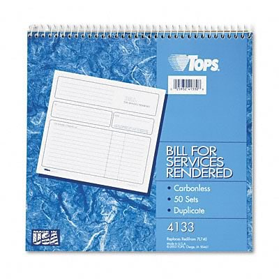 Tops® Bill for Services Rendered  Book