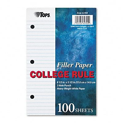 Tops® College Ruled Loose Notebook Filler Paper; Heavyweight