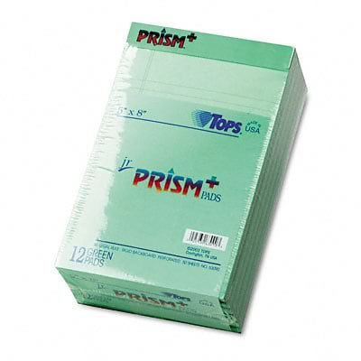 Tops® Prism Plus Colored Paper Pads; Junior Legal Ruled, 5 x 8 , Green