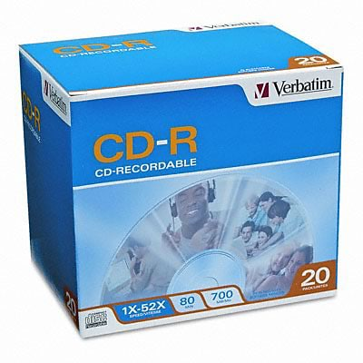 Verbatim® CD-R Discs; 700MB/80min, 52x, w/Slim Jewel Cases, Silver, 20/pack