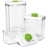 6 Pc. Fresh Edge Vacuum-Seal Food Storage Container Set - Green/White Lids