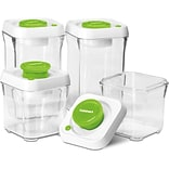 8 Pc. Fresh Edge Vacuum-Seal Food Storage Container Set - Green/White Lids