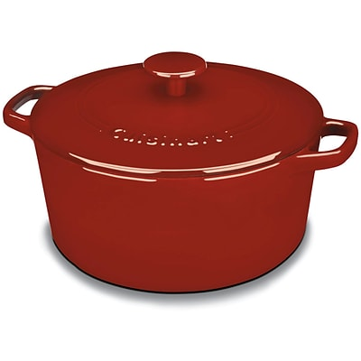 Chefs Classic Enameled Cast Iron 5 Qt. Round Covered Casserole in Cardinal Red