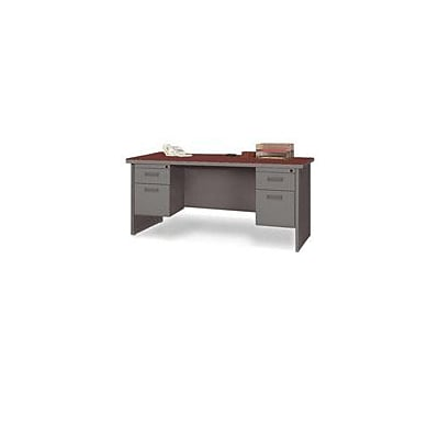 Lorell 67000 Series in Cherry/Charcoal, 60W x 24D Double Pedestal Credenza